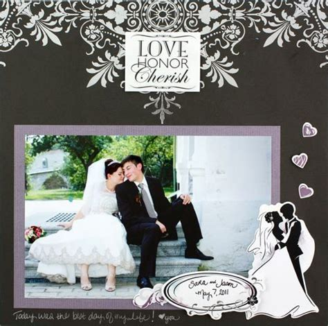 Scrapbook Layouts   Love and Wedding Project Ideas: I Thee