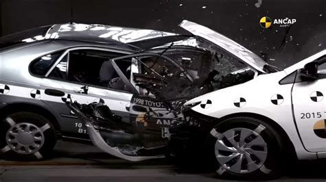 crash test compare versus new in shocking toyota corolla crash test