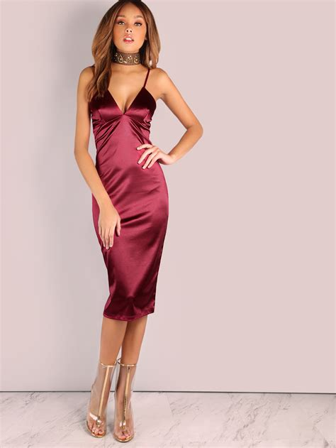 Satin Dress by V Satin Bodycon Midi Dress Wine Makemechic
