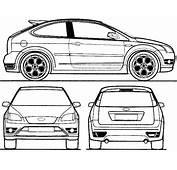 CAR Blueprints  Ford Focus ST 3 Door Vector