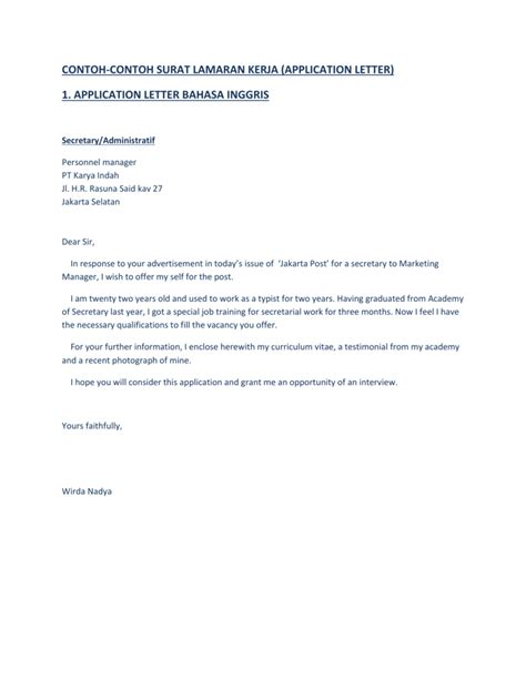 contoh application letter bahasa inggris hotel amazing contoh application letter dan cv dalam bahasa