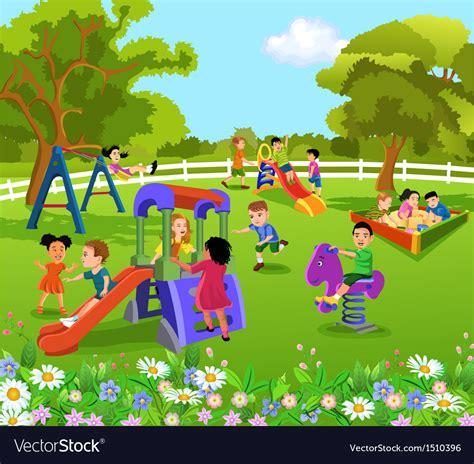 children playing   garden royalty  vector image