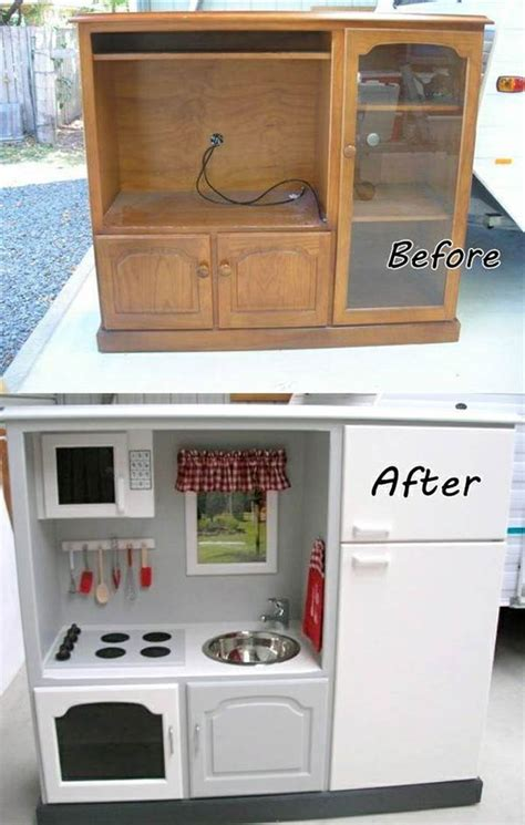 diy play kitchen ideas how to diy repurpose an entertainment center into a