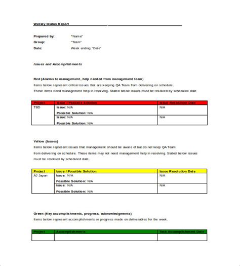 monthly project status report template in word and pdf formats