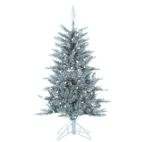 sterling 4 ft pre lit silver tuscany tinsel christmas