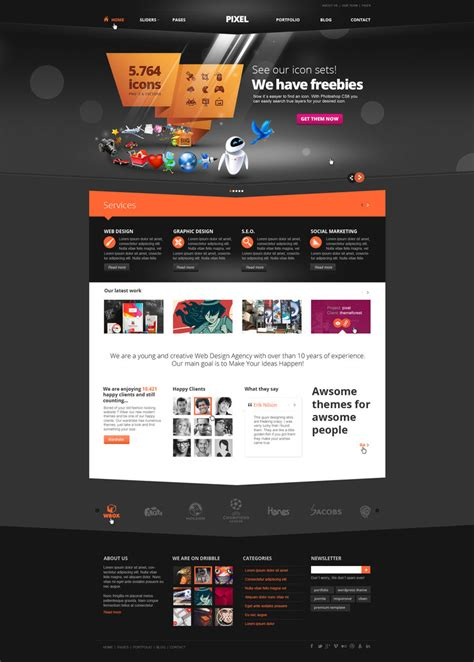 free layout of website pixel studio premium website template dark by