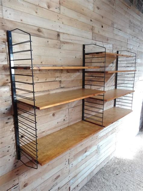 vintage wood and metal string shelving system for sale at 1950 s vintage industrial retro metal and light wooden