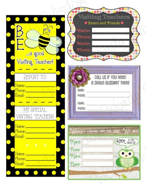 Visiting Teaching Assignment Cards Template by Visiting Teaching Lds Contact And Assignment Cards By