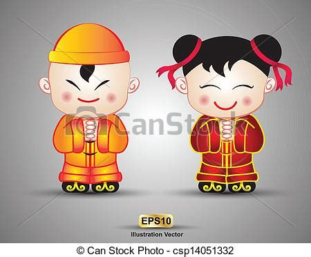 new year doll vector vectors of china doll boy and new year