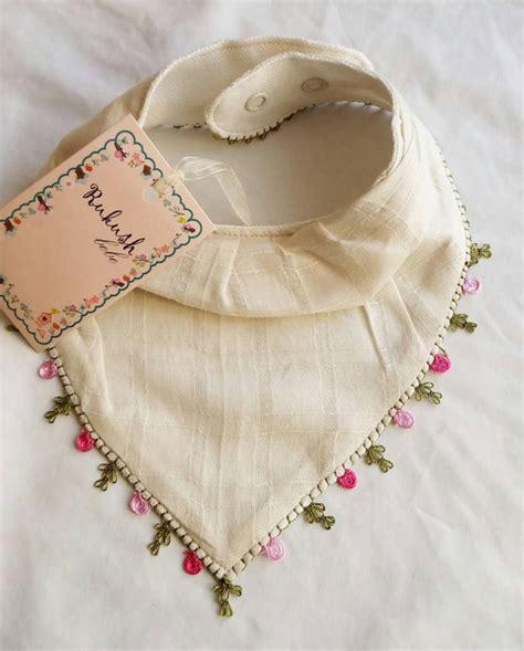 Handmade Bandana Bibs - special handmade bandana bib with needle lace work