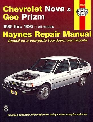 old car manuals online 1992 geo prizm transmission control chevy nova geo prizm repair manual 1985 1992 haynes