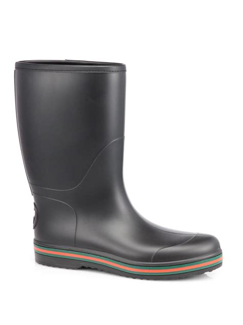 black gucci boots for lyst gucci rubber boots in black for