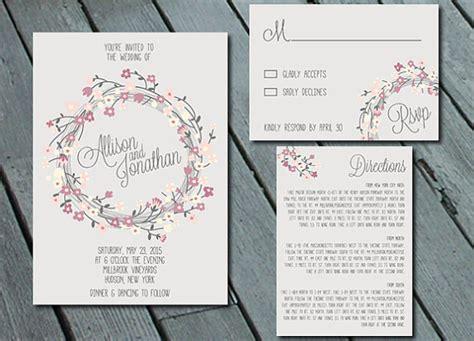 diy printable wedding invitation suites rustic floral wreath wedding invitation suite with rsvp