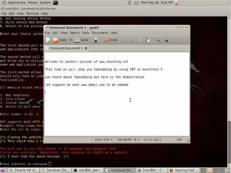 tutorial hack gmail tabnapping tutorial social engineering toolkit backtrack