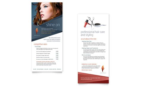 Downloadable Rack Card Templates by Hair Stylist Salon Rack Card Template Word Publisher