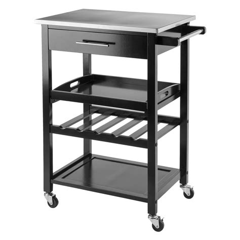 trolley kitchen cart black kitchen islands and carts winsome wood anthony black kitchen cart with stainless