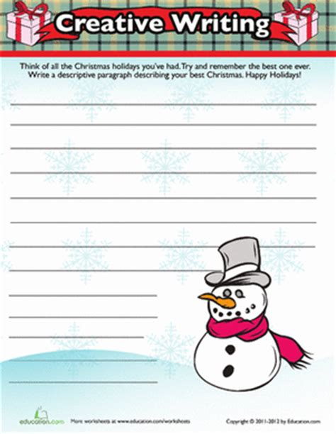 christmas writing activity worksheet education com