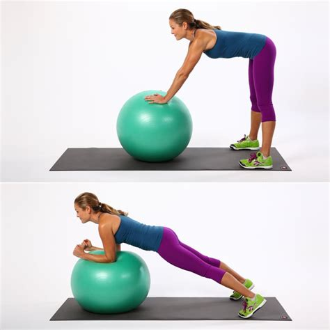 standing ab rollout  stability ball exercises popsugar fitness photo