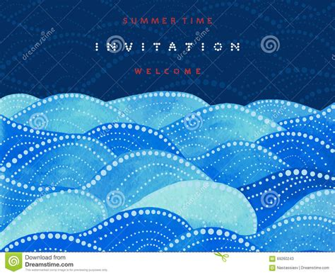 navy blue wave background design invitation card on navy blue background with watercolor