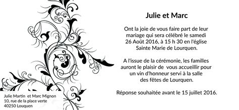 Mod Le Lettre D Invitation D Honneur carte d invitation mariage cartes dinvitation de mariage