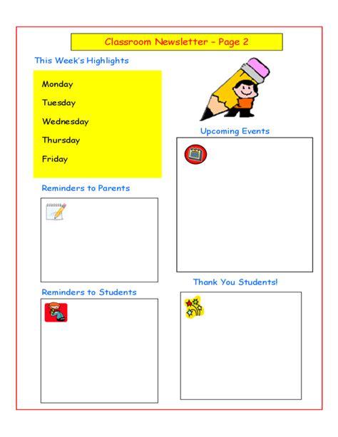classroom newsletter template classroom newsletter sle free