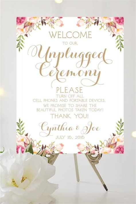 Welcome To Our Unplugged Ceremony Sign Various Sizes Personalized Quot Vintage Quot Style Welcome To The Wedding Of Template