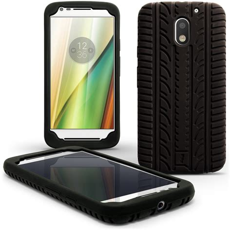 Motorola Moto E3 E 3 Jelly Gel Silicon Silikon Softcase Soft igadgitz black tyre tread silicone rubber gel skin