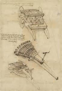 cart and weapons from atlantic codex drawing by leonardo