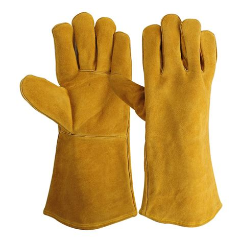 Sarung Tangan Safety Kulit Dengan Scholight Warna Kuning 14 inch kulit sapi kulit pelindung tangan las sarung