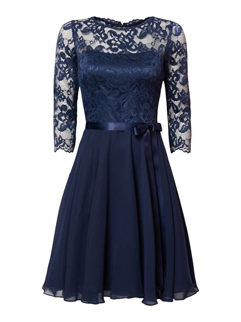 swing cocktailkleid aus floraler spitze in blau t 252 rkis - Swing Cocktailkleid Blau