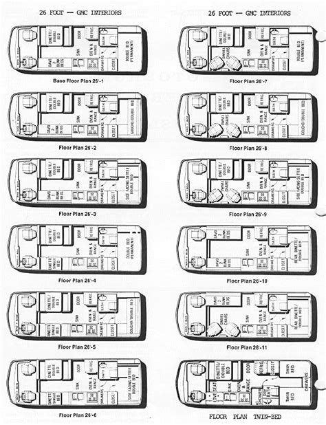 gmc motorhome floor plans floor plan variations 70 s gmc family motorhome pinterest