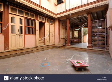 interior design of house in indian style interior of indian village house gujarat india stock photo