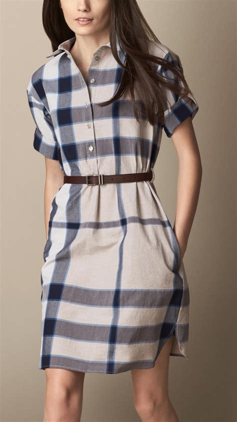 Maxi Umbrella Burberry lyst burberry check shirt dress with leather belt in blue