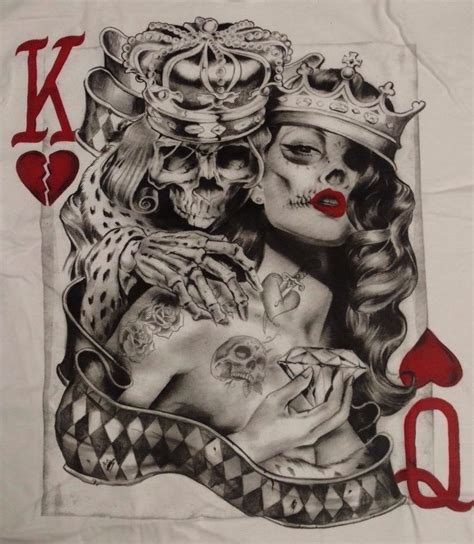 tattoo queen of the south men s king queen of hearts tattoo skull poker t shirt s