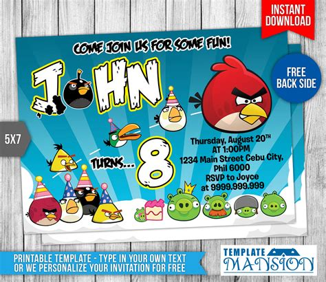 angry birds birthday invitation template free angry birds birthday invitation 2 by templatemansion on