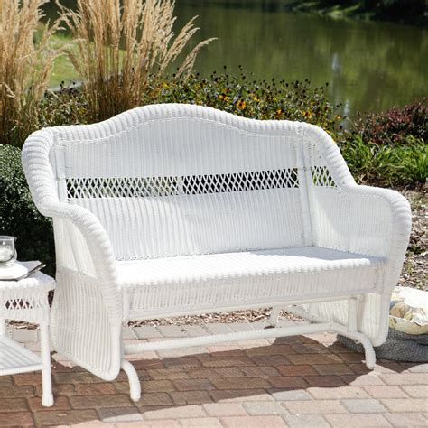 white resin wicker loveseat coral coast casco bay resin wicker outdoor glider loveseat