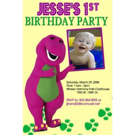 barney birthday invitation card template barney photo invitations invites