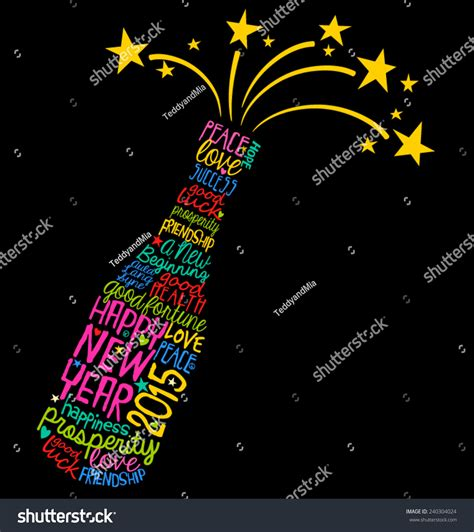 chagne bottle outline new year word vector 28 images quot the word happy new