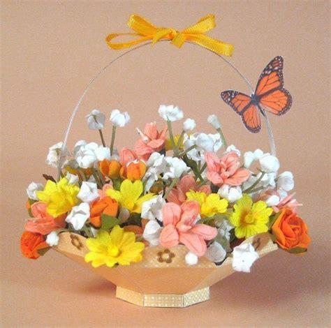 Pop Up Card Flower Basket Template by A4 Card Templates For 3d Flower Basket Display