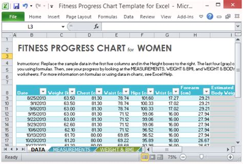 weight management certification dates fitness progress chart template for excel