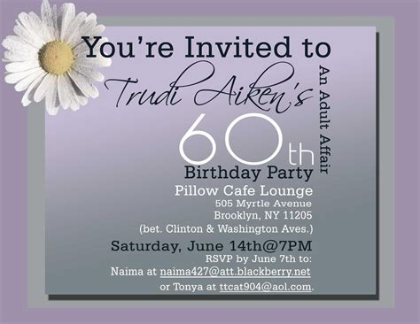 60th Birthday Invitations Free Birthday Invitations Template Pinterest 60th Birthday 60th Birthday Invitations Free Templates