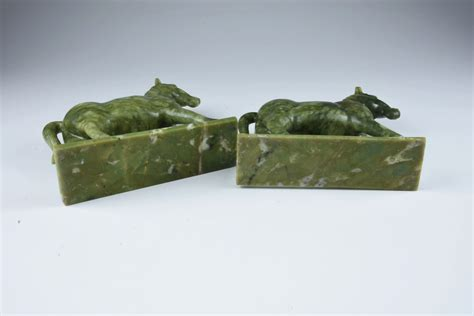 Chinese Soapstone Figures Pair Of Carved Soapstone Horse Figures On Stands Ebth