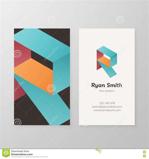 business card template us letter svg business card isometric logo letter r template stock
