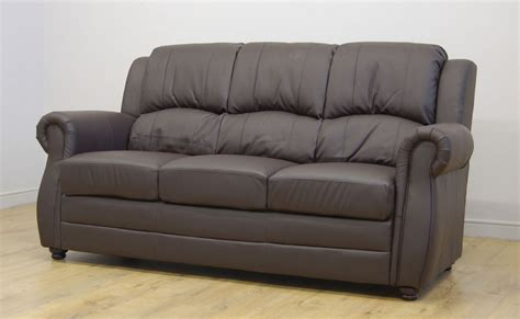 Leather Sofa On Clearance Clearance Brton 3 Seater Brown Leather Sofa T733 Ebay