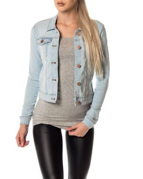 womens light denim jacket noisy may debra denim jacket light blue denim s
