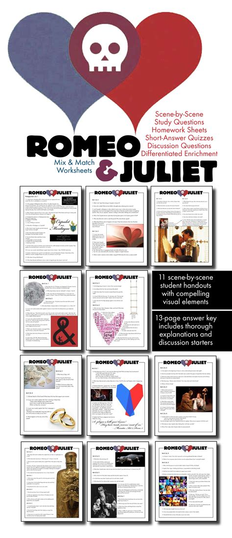 themes of romeo and juliet play romeo juliet worksheets quizzes homework discussion for
