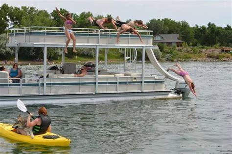 pontoon water slide premier pontoon wide ptx with skydeck and water slide boat