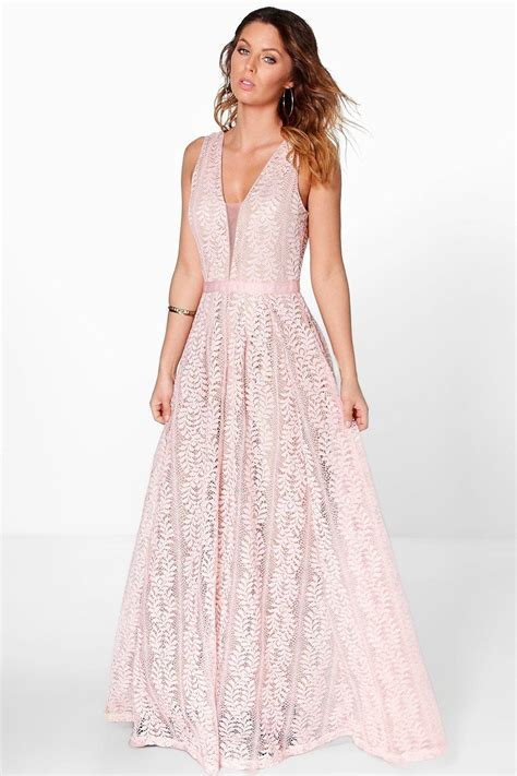 Maxi Lace boutique ali all lace plunge neck maxi dress at boohoo
