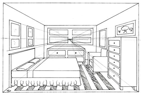 One Point Perspective Bedroom | bedroom 1 point by madhavi on deviantart