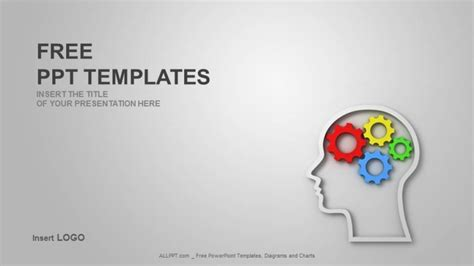 powerpoint templates free brain brain gears in head shape industry ppt templates